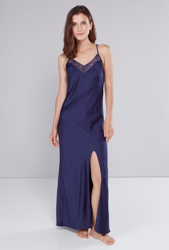 Lace Detail Gown with Bow Accent