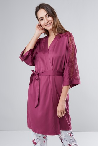 Lace Detail Midi Robe with Tie Ups