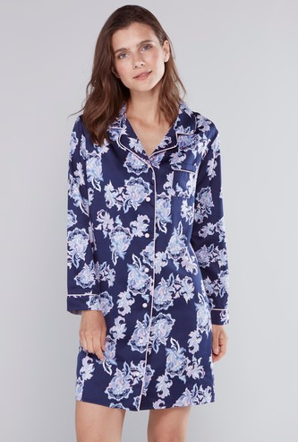 Floral Printed Sleep Shirt with Button Closure and Pocket Detail