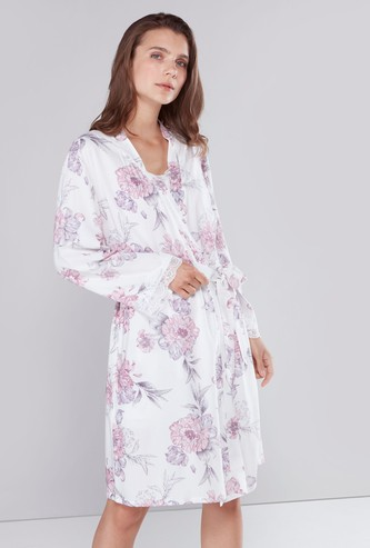 Floral Print Robe with Sash and Long Sleeves