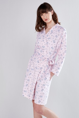 Printed Robe with Pocket Detail