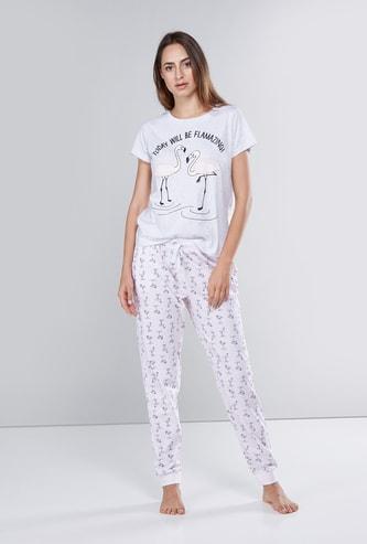Printed Short Sleeves T-shirt with Drawstring Jog Pants