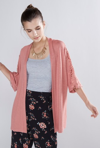 Open Front Shrug with Lace Trim and 3/4 Sleeves