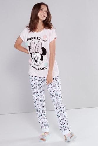 Minnie Mouse Printed Pom-Pom Detail T-Shirt with Jog Pants