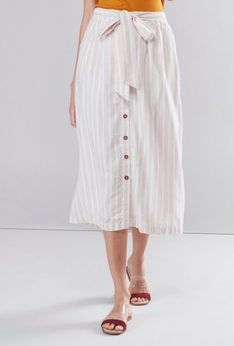 Striped Midi Skirt with Waist Tie Up and Button Detail