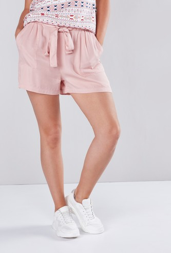 Paper Bag Waist Shorts with Tie Ups and Pocket Detail