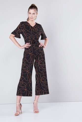 Printed Jumpsuit with V-neck and Tie Up Detail