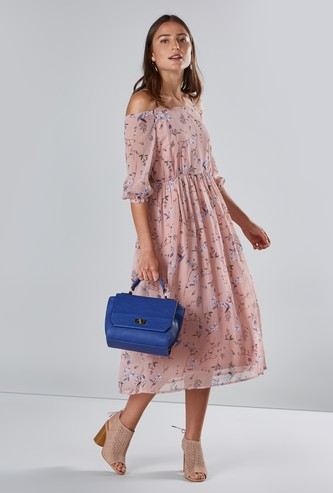 Floral Printed Midi Dress with Cold Shoulder Sleeves