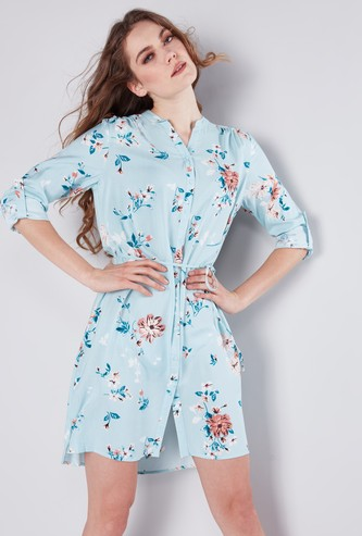Floral Printed Mini Shirt Dress with Long Sleeves