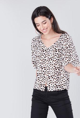Animal Printed Shirt with V-neck and 3/4 Sleeves