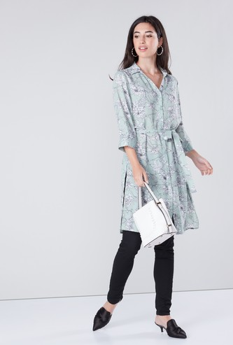 Floral Printed Collared Tunic with Belt Detail