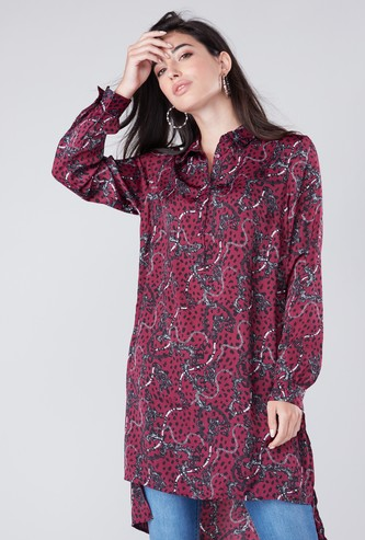 Printed Tunic with Collar Neck and Long Sleeves