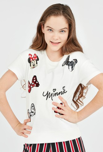 Minnie Mouse Embellished T-shirt with Round Neck and Short Sleeves