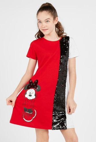 Minnie Mouse Print Dress with Short Sleeves and Sequin Detail