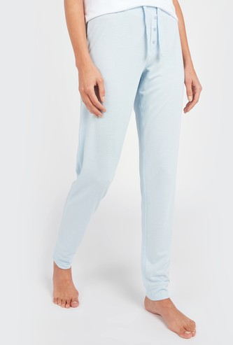 Solid Pyjama Pants with Drawstring Closure