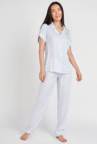 Star Print Short Sleeves Shirt and Full Length Pyjama Set