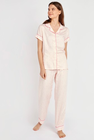 Heart Print Collared Shirt and Full Length Pyjama Set