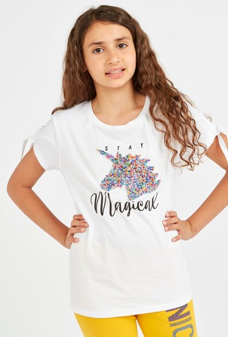Embellished Unicorn Top with Short Sleeves