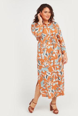 فستان قميص ميدي بأكمام طويلة وأربطة وطبعات