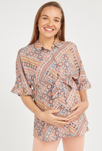 Maternity Printed Shirt with Short Sleeves and Tie Ups