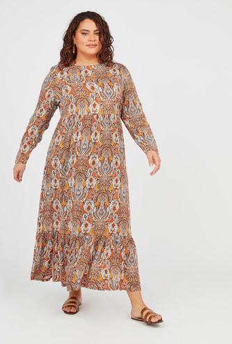 فستان إيه لاين طويل بياقة مستديرة وأكمام طويلة وطبعات