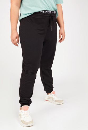 Solid Mid-Rise Jog Pants with Elasticised Waistband