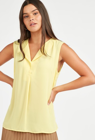 Solid Sleeveless Formal Top with V-neck