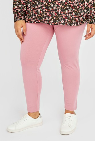 Solid High-Rise Leggings with Elasticised Waistband
