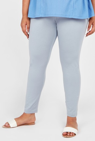 Solid High Waist Leggings with Elasticised Waistband