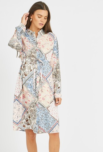 Maternity Printed Midi Shirt Dress with Long Sleeves and Tie Ups