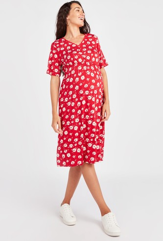 Floral Print Midi Maternity Dress with Short Sleeves