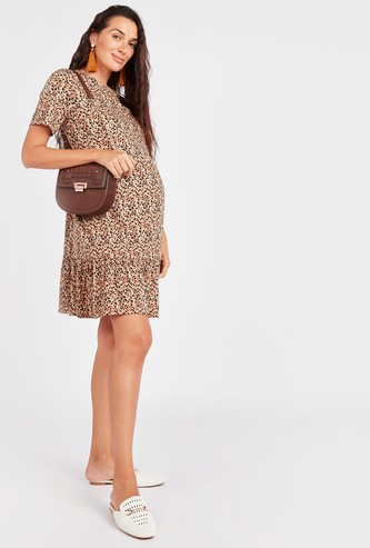 Printed Maternity Mini A-line Dress with Round Neck and Short Sleeves