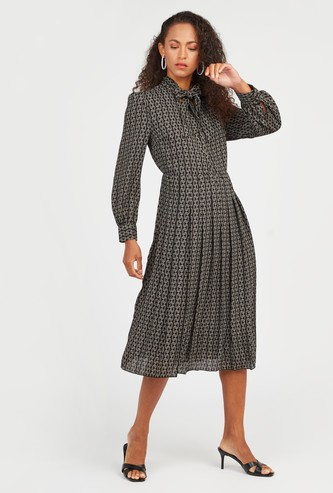 Printed Knee Length Dress with Long Sleeves and Tie Ups
