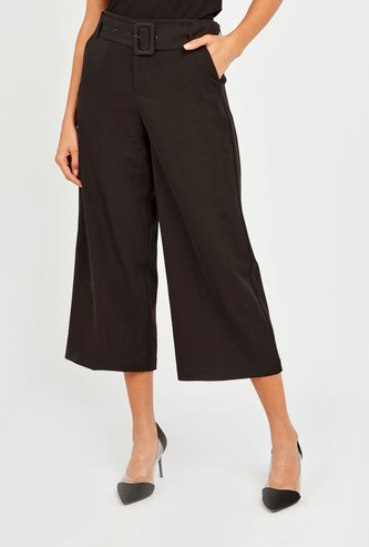 Solid Mid-Rise Cropped Formal Trousers with Belt