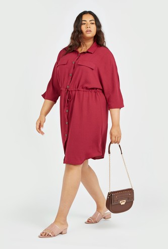 Solid Midi Shirt Dress with 3/4 Sleeves and Tie Ups