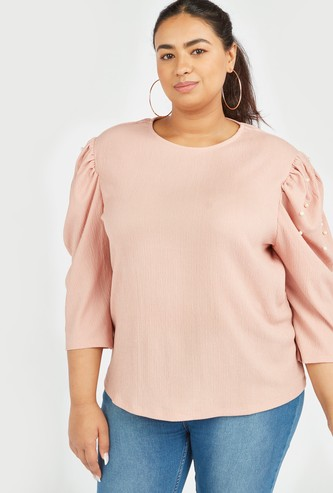 Embellished Top with Round Neck and Ruffled Sleeves