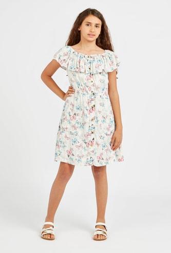 Butterfly Print Off Shoulder Dress with Pocket Detail
