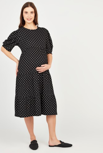 Polka Dot Print Maternity A-line Dress with 3/4 Puff Sleeves