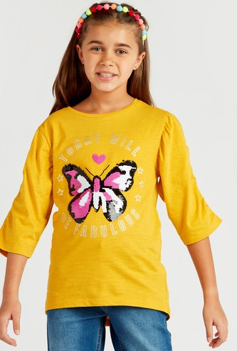 Butterfly Sequin Detail T-shirt with Round Neck and 3/4 Sleeves