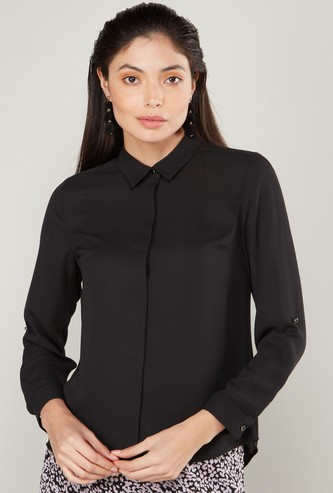Solid Button-Down Shirt with Spread Collar and Long Sleeves