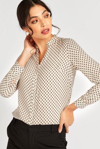 Printed Formal Shirt with Mandarin Collar and Long Sleeves