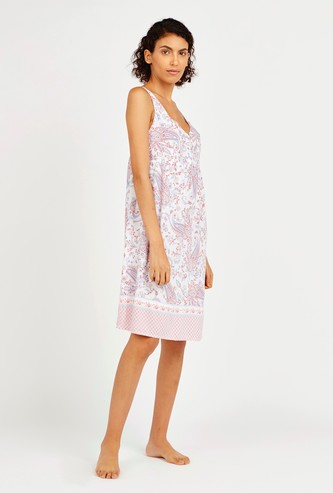 Printed Sleeveless Sleep Dress with V-neck