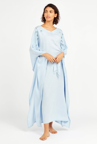 Solid Sleep Dress with V-neck and Flared Sleeves