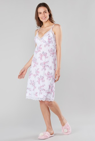 Floral Print V-neck Sleep Dress with Adjustable Spaghetti Straps