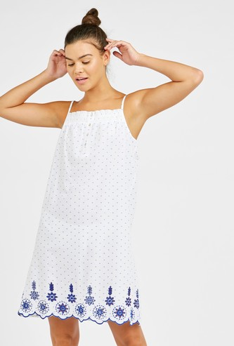 All Over Printed Sleep Dress with Spaghetti Straps