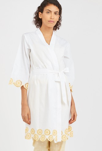 Lace Detail Robe with 3/4 Sleeves and Tie Ups