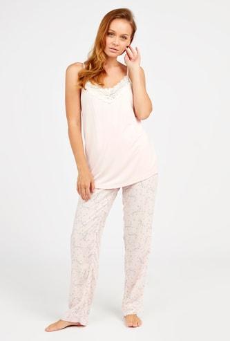 Textured Sleeveless Top and Printed Pyjama Set
