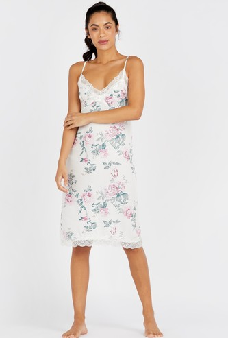 Floral Print Sleeveless Sleep Dress with V-neck and Lace Detail