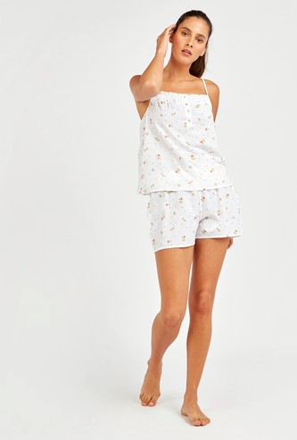 Printed Top with Spaghetti Straps and Shorts