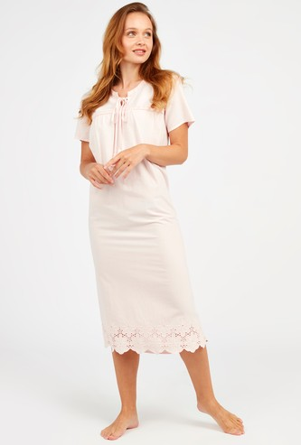 Textured Sleep Dress with Short Sleeves and Tie Ups